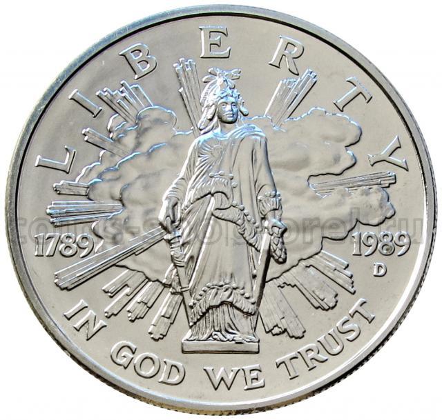 Монеты иностранные монеты 1 доллар 1989 сша 200 лет конгресс.