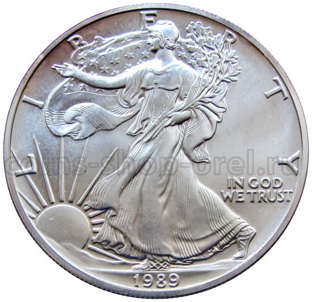 Монеты иностранные монеты 1 доллар 1989 сша шагающая свобода.